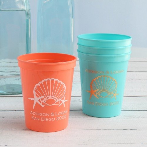 bc6ba1abd39 Personalized Bridal Stadium Cups Seaside Wedding Theme Supply Idea