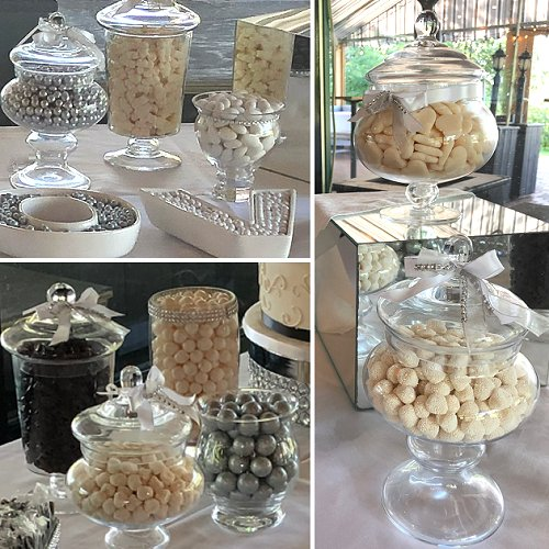 White Silver and Black Wedding Candy Bar