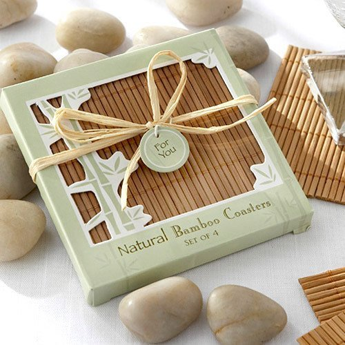 Eco-friendly Natural Bamboo Coaster Favors Wedding Favours
