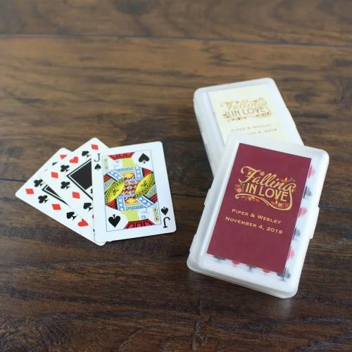 Playing Cards with Personalized Label Wedding Favours