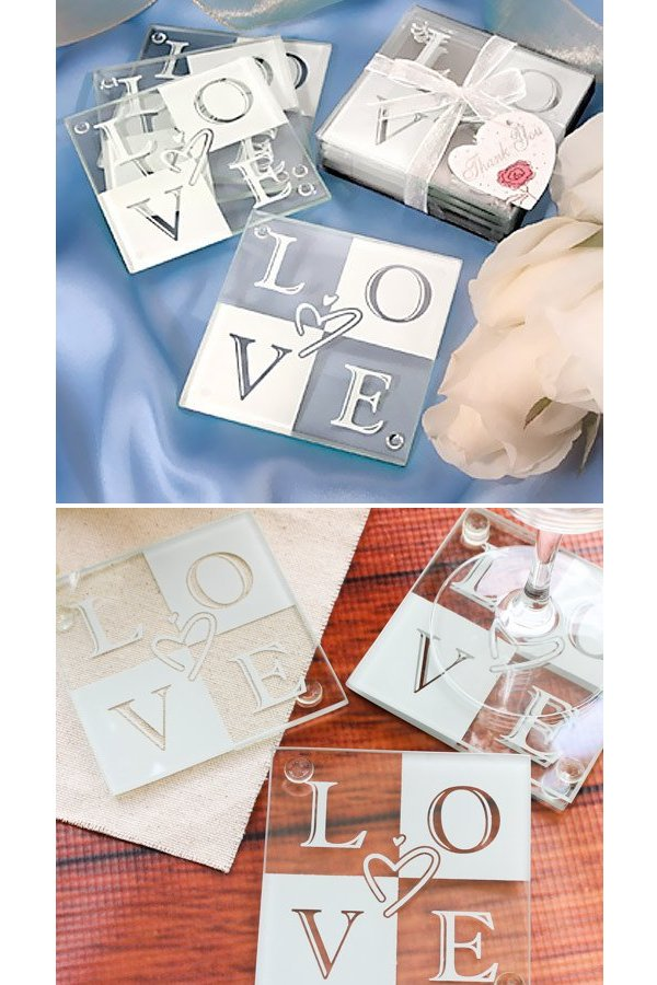 Glass Love Coaster Wedding Favours