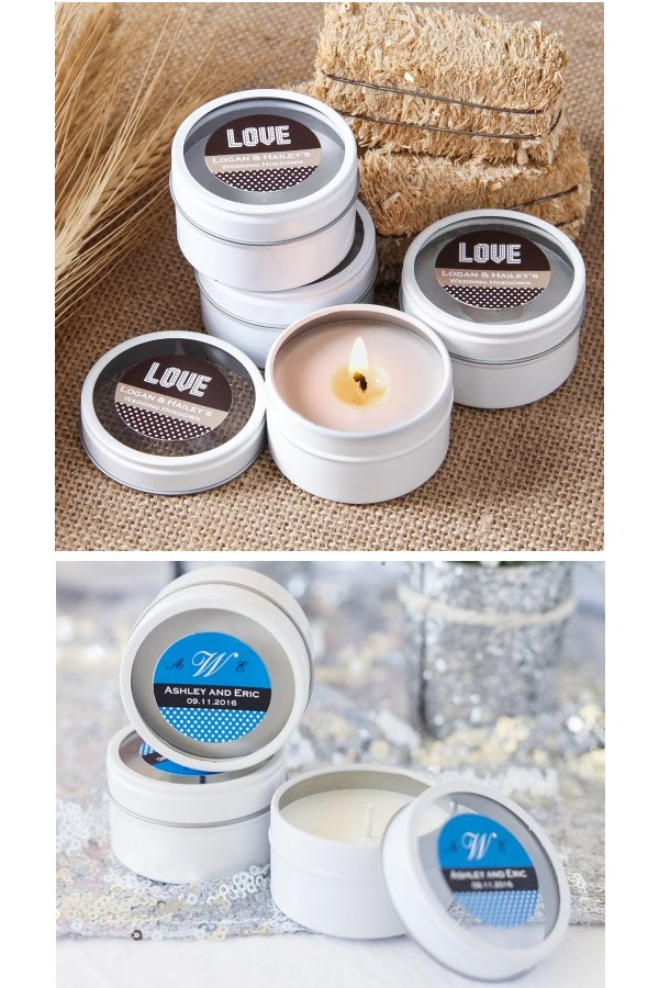 Mini Round Personalized Clear Top Wedding Candle Favors