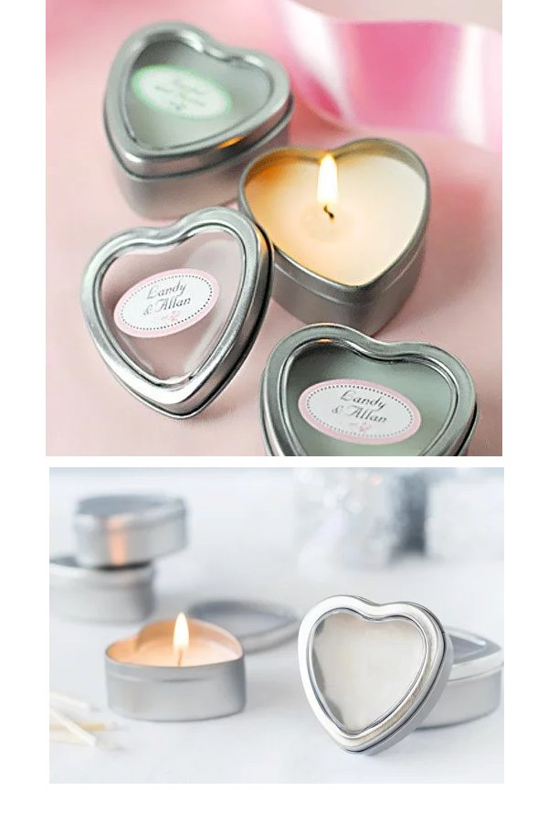 Mini Vanilla Heart Candle Tin Wedding Favours