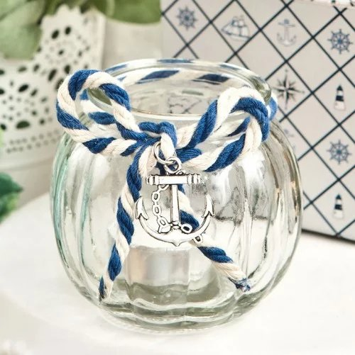 Nautical Glass Tea Light Holder Wedding Favours
