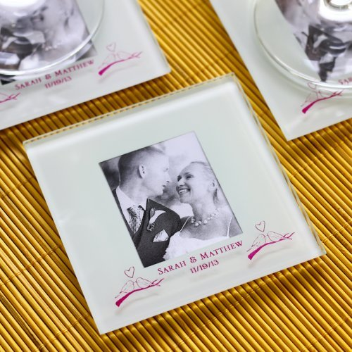 Personalized Frosted Glass Photo Coaster Wedding Favours