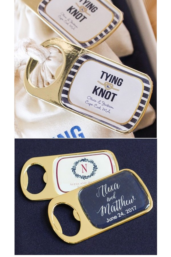 Personalized Bottle Opener with Epoxy Dome Wedding Favours