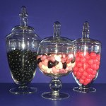 Wedding Candy Buffet Apothecary Glass Jars - set of 3