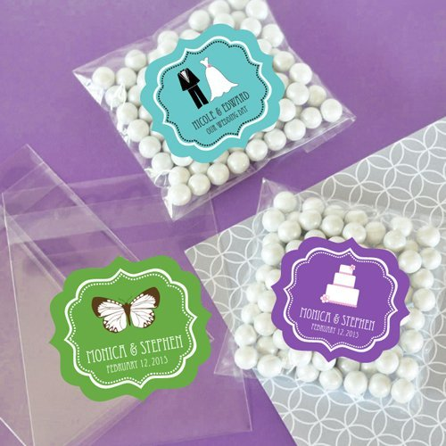 Wedding Favour Personalized Clear Bridal Candy Bags