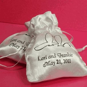 Wedding Favour Personalized Satin Bags