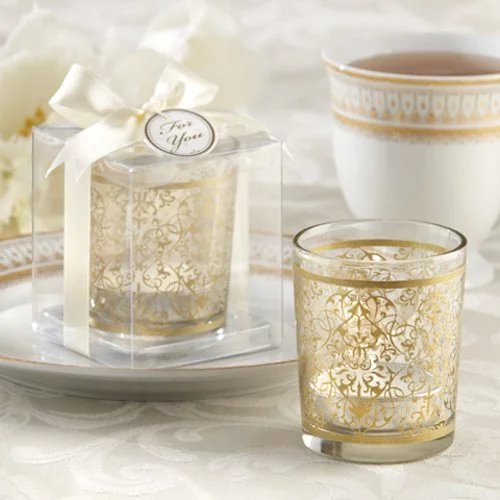 Golden Renaissance Glass Tea Light Holder Wedding Favours