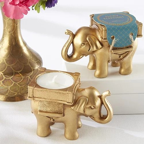 Lucky Golden Elephant Tealight Holder Wedding Favours