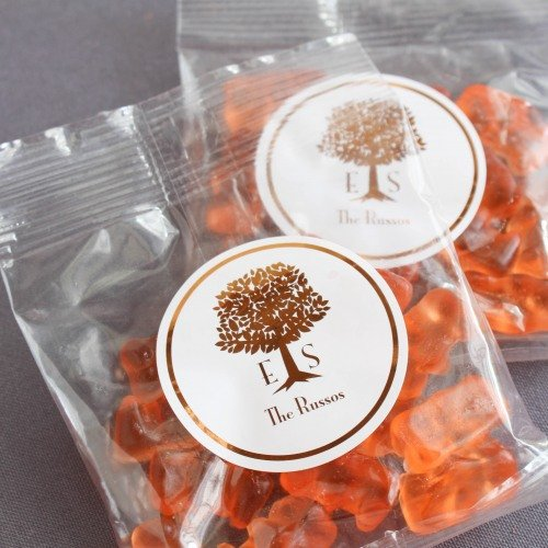 Personalized Bridal Champagne Gummy Bear Packet Wedding Favours