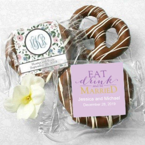 Personalized Chocolate Covered Pretzel Wedding Favours