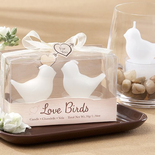 White Love Birds Tea Light Candle Wedding Favours