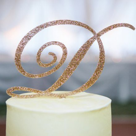 Wedding Reception Glitter Initial Cake Topper