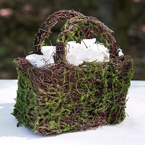 Wedding Reception Decor Moss And Wicker Basket