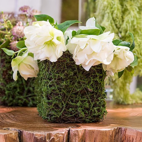 Wedding Reception Decor Moss And Wicker Mini Planters