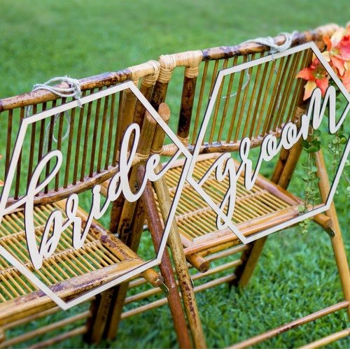 Wedding Reception Decor Wood Geometric Bride & Groom Chair Signs