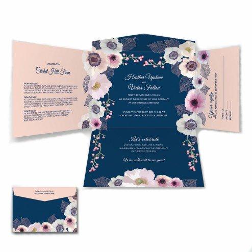 Romantick Blue and Blush Wedding Invitation