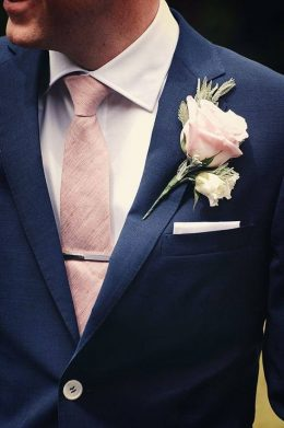 Navy Blue Suit With Soft Pink Tie & Boutonniere