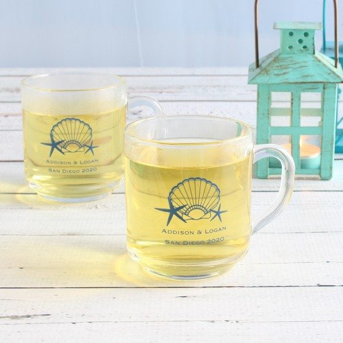 Personalized Glass Mug Seaside Wedding Theme Favor Idea