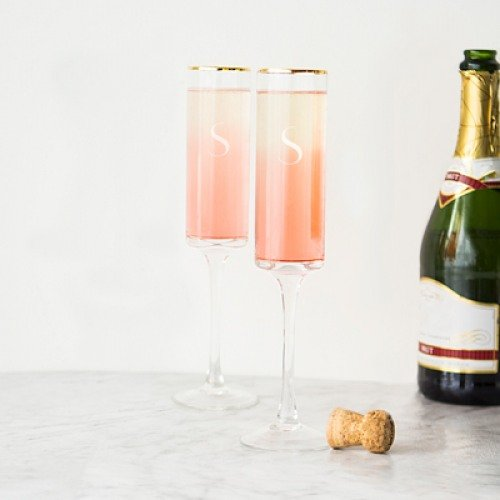 Personalized Gold Rim Champagne Flutes