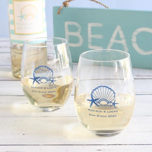 Personalized Stemless Wine Glasses Seaside Wedding Theme Decor Idea