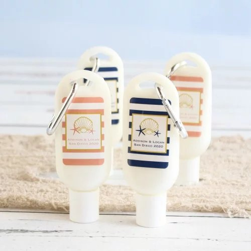 Personalized Sunscreen with Carabiner Seaside Wedding Theme Favor Idea