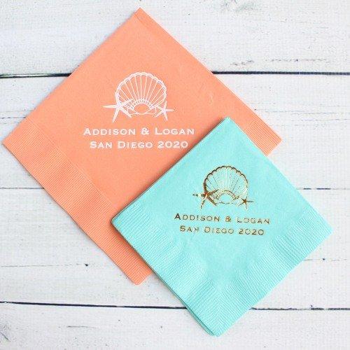 Personalized Napkins Seaside Wedding Theme Idea