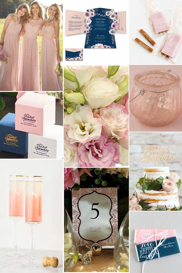 Soft Pink & Navy Blue Wedding Color Inspiration - WeddingConnexion.com