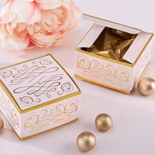 Romantic Rose Gold Bridal Shower Square Favor Boxes