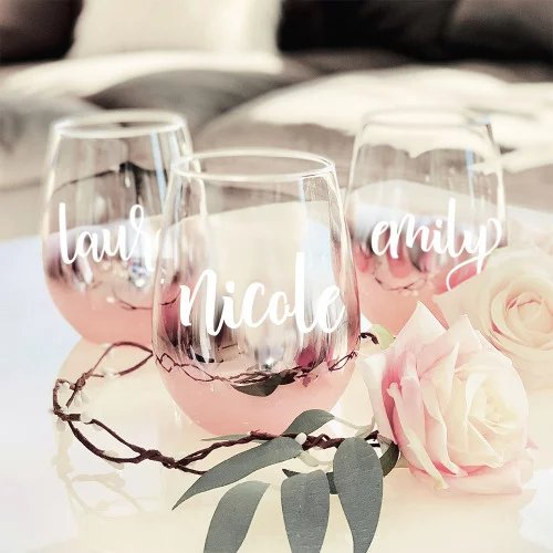 Personalized Rose Gold Stemless Glasses
