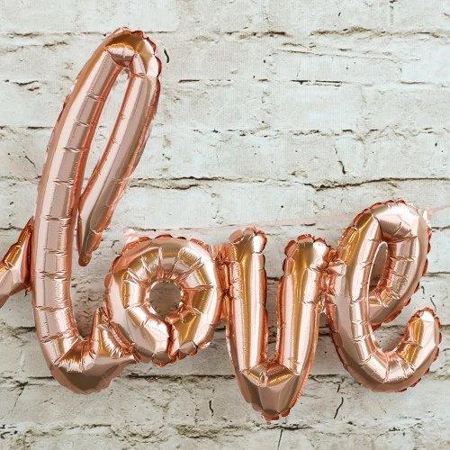Rose Gold Script Love Balloon Bridal Shower Deocr Idea