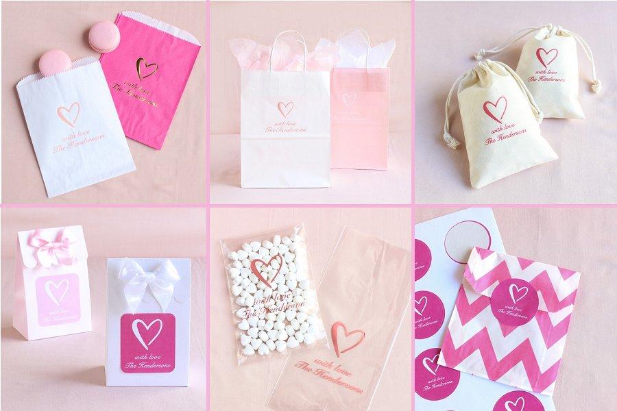 Classic Heart Wedding Theme Favor Bags