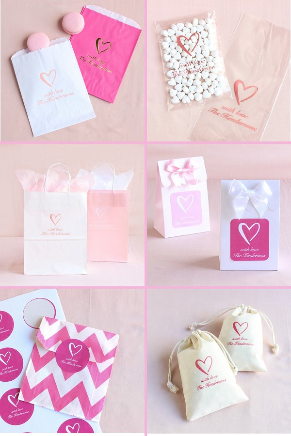 Classic Heart Wedding Theme Favor Bags - WeddingConnexion.com