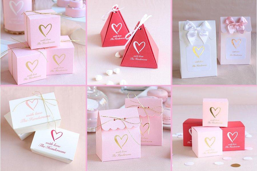 Classic Heart Wedding Theme Favor Boxes