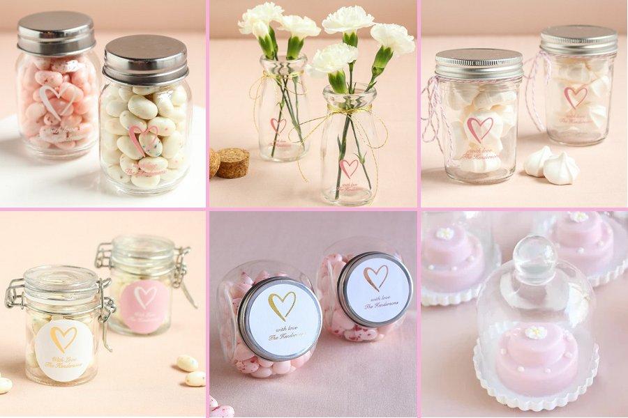 Classic Heart Wedding Theme Glass Favor Jars