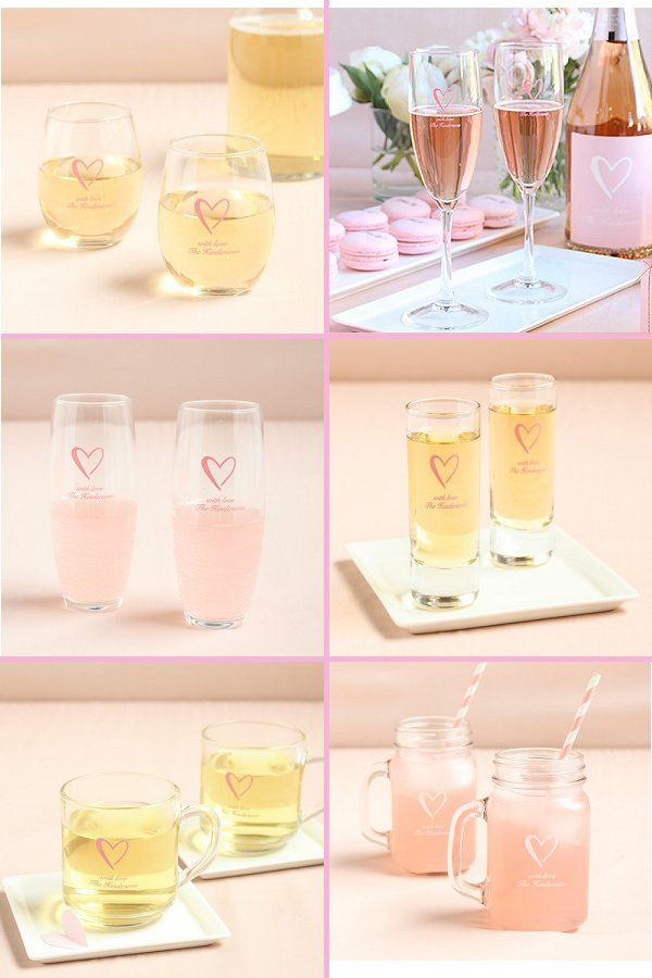 Classic Heart Wedding Theme Reception Glassware - WeddingConnexion.com