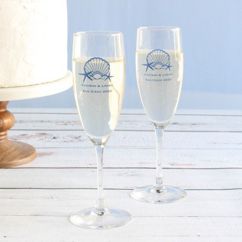 Personalized Champagne Flutes for your Seaside Wedding Theme Reception
