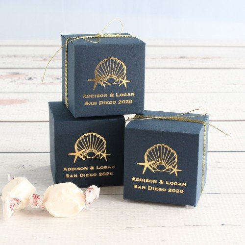 Personalized Seaside Wedding Theme Square Favor Boxes