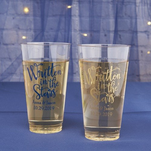 Personalized Clear Plastic Wedding Glasses