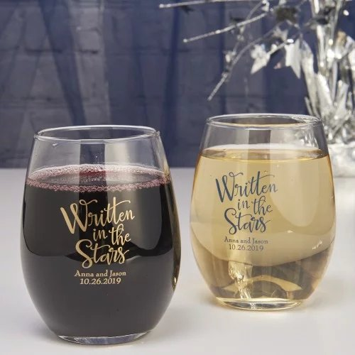 Personalized Wedding Stemless Wine Glasses