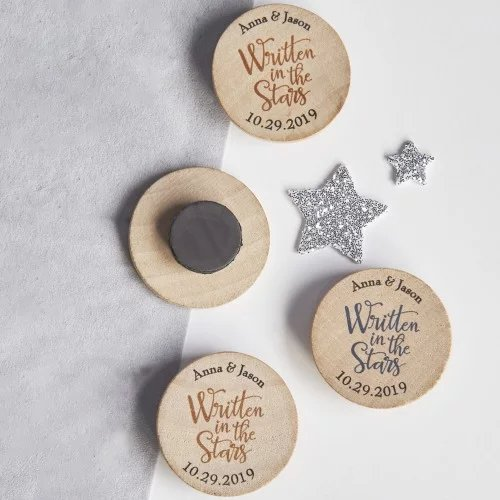 Personalized Wood Magnet Wedding Favors
