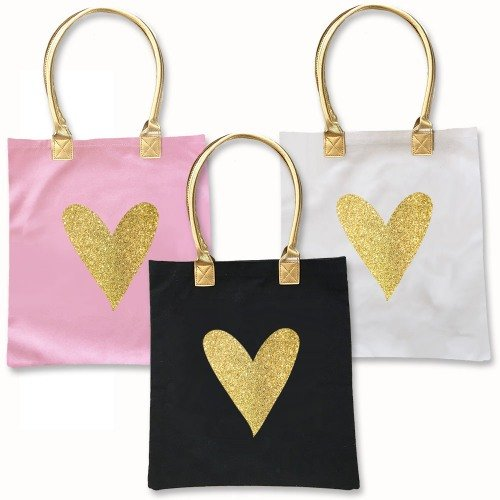 Parisian Chic Bridal Shower Glitter Heart Tote Bag Favors