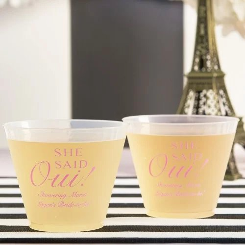 Parisian Chic Bridal Shower Theme Personalized Frosted Plastic Cups