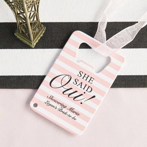 Parisian Chic Bridal Shower Credit Card Bottle Opener Favors