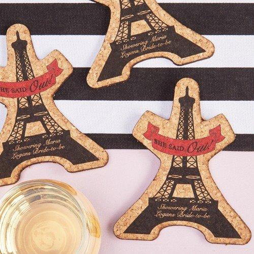 Parisian Chic Bridal Shower Theme Personalized Eiffel Tower Cork Coasters