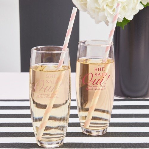 Parisian Chic Bridal Shower Theme Personalized Stemless Champagne Flutes