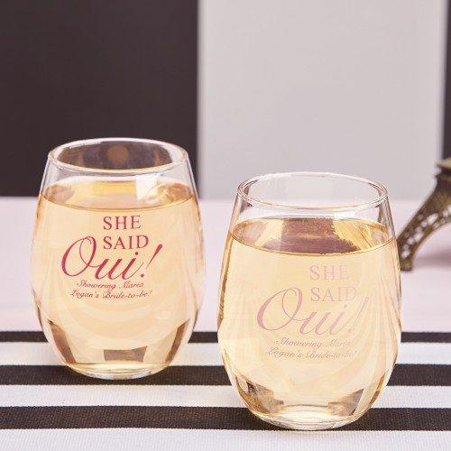 Parisian Chic Bridal Shower Theme Personalized Stemless Wine Glasses