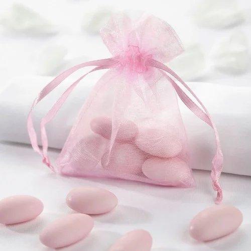 Parisian Chic Bridal Shower Pink Sheer Organza Favor Bags